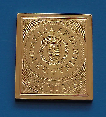 Gold plated 8.52g Silver Stamp Ingot Argentina Argentinian South America 5 cents