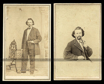 1860s CDV PHOTOS Two Self Portraits of Missouri Photographer Julius Gross