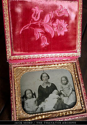 Powerful Post Mortem Ambrotype Photo - Grieving Mother & Children w Dead Sibling