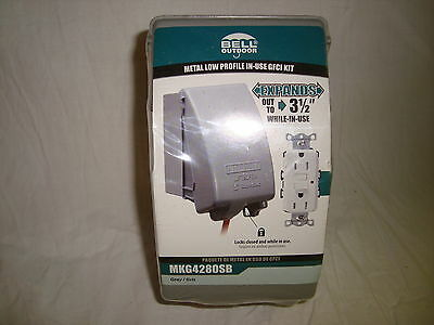 Bell Outdoor Metal Low Profile In-Use GFCI Kit Gray MKG4280SB New In Package