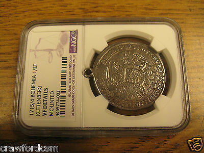 Bohemia Kuttenberg silver 1/2 Thaler 1715 over 14 Unlisted Overdate NGC Mounted