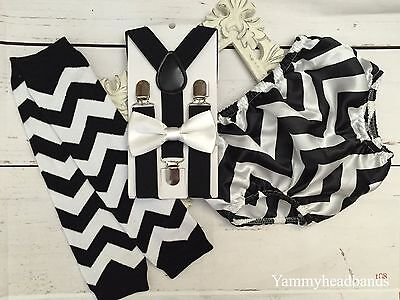 1st 2nd Birthday Boys Set Bow Tie Chevron Bloomers Suspenders 12-24m Smash Cake