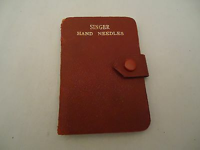 RARE ANTIQUE SINGER SEWING MACHINE CO HAND NEEDLES Red Leatherette Snap Case