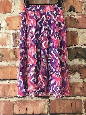 JUSTICE Girls Size 8 Maxi Skirt Purple Pink White Full length