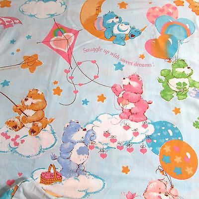 Vintage Care Bear Full Size Fitted Sheet  72in x 92in- Good Quilt Backing Fabric