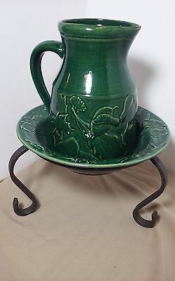 Rowe Pottery Works Green Avignon   Collection Leaf Design Bowl & Pitcher