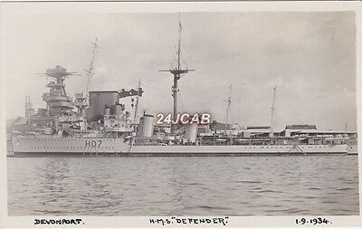 "Royal Navy Real Photo. HMS ""Defender"" D-class destroyer. Scuttled in WW11. 1934"