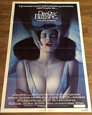 DEADLY BLESSING Original One Sheet Movie Poster, WES CRAVEN, Horror