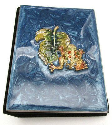 "Enamel & Crystal Frog on a Leaf Mini Photo Album Brag Book for 3.5x2"" photos Nib"