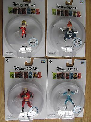 "Disney Pixar Mr Incredible Syndrome Dash Frozone 3.75"" Figures Thinkway Toys NEW"