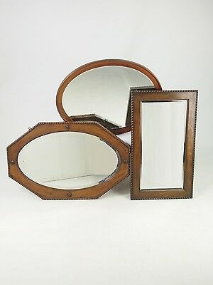 Collection 3 Vintage Mirrors -Oval Hegagonal Oak Mahogany Art Deco Hall Bedroom