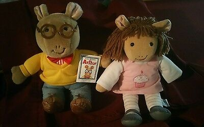 "Arthur and Sister DW Plush Toys 14"" preowned"