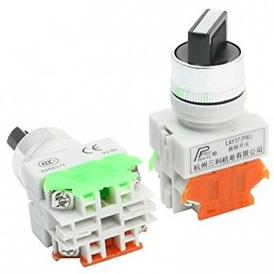 LAY-11X/2 Push-to-Select DPST Rotary Select Switch 600V 10A 2Pcs