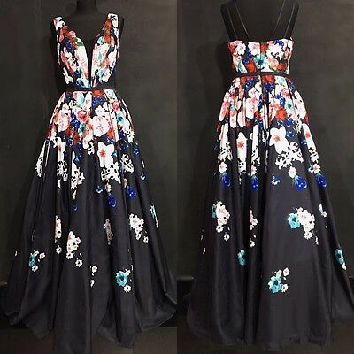 Maxi Dress Floral Evening Party Ball Gown Size 12 Prom Wedding Bridesmaid Black