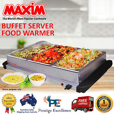 Buffet Food Warmer Large Electric Bain Marie 3 x 2.5L Stainless Steel Meal Trays