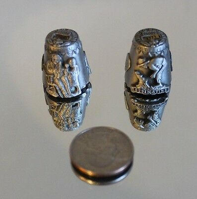 NORMAN ROCKWELL PEWTER THIMBLE CURTIS 1980 amd  1984 LTD ED #2880 AND #2771