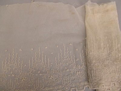 Antique lace needlelace net w embroidery