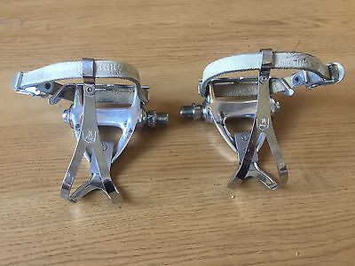 Campagnolo Chorus Pedal Pair Excellent Used With Clips & Cornez Straps & Buttons
