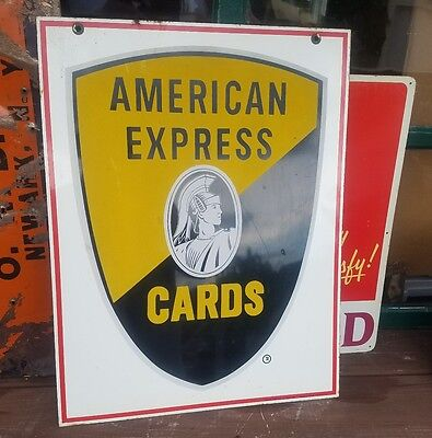 Orig 1960s American Express Cards Centurion Double Sided Steel Sign Stout USA