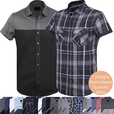 VW Mens BUTTON DOWN SHORT SLEEVE Tee Summer Casual Top Collared Western T Shirts