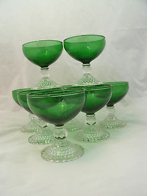 "Vintage Anchor Hocking BUBBLE FOOT Green Set of 8-4"" Sherbet Cocktail Boopie EC"
