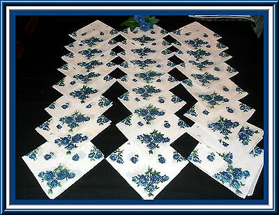 24 Beautiful Ladies Print Handkerchiefs With Blue Roses Pristine