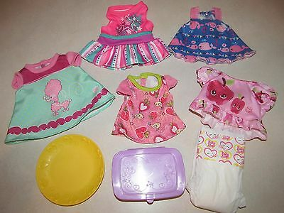 """Baby Alive 14"""" 15"""" 16"""" Doll Party Dress Outfit Diaper Plate Wipes Container Lot"""