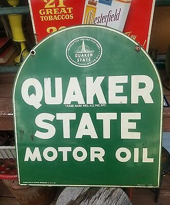 Vintage 59 Quaker State Motor Oil Steel Garage Sign Gas Station Large Green Usa