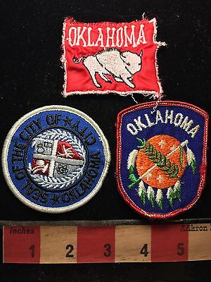 Oklahoma Patch Lot Of 3. The Red One Is Missing Top Border. 76X2