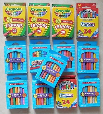 312 Crayola & Scholastic Crayons 24 Counts/Pack - Assorted Colors + More