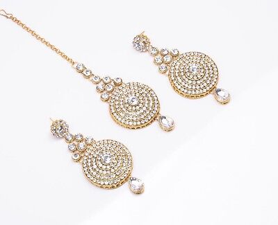 Brand New Bollywood Style Party Wear Indian Earring And Tikka Set Gold