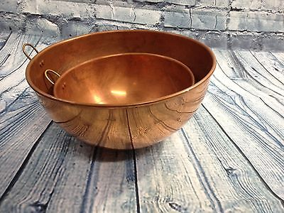 "Vtg Set 2 Solid Copper Egg Meringue Mixing Bowls 10"" 8"" Rolled Edge Brass Rings"