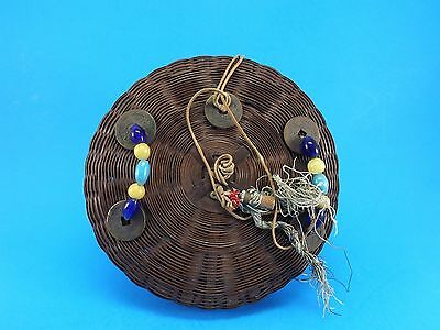 Vintage / Antique CHINESE SEWING BASKET - Coins & Peking Glass