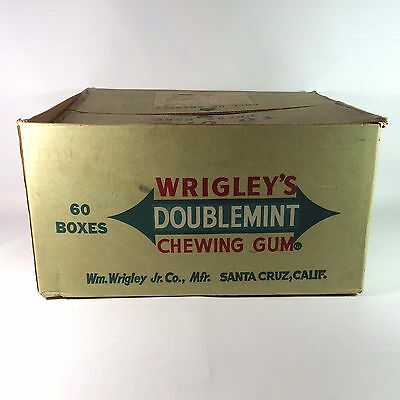 Vintage 1957 Wrigley's Double Mint Chewing Gum 60 Boxes Cardboard Delivery Box
