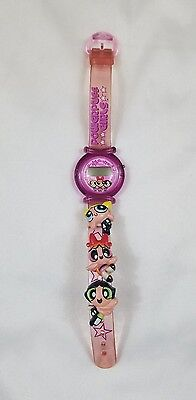 2001 Cartoon Network Powerpuff Girls Pink Watch Blossom Bubbles and Buttercup