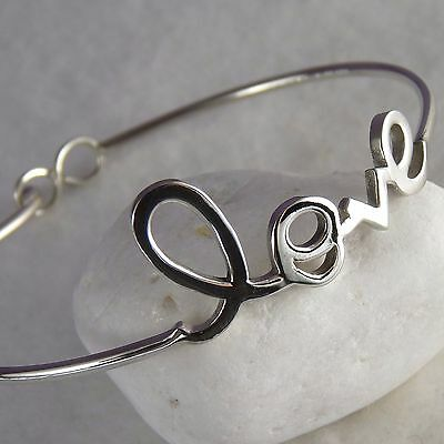 925 Sterling Silver ~ONLY LOVE~ SilverSari CUFF Bangle (Fits Wrists S to M/L)