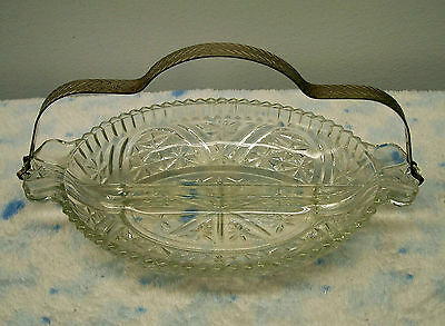 Vintage Clear Glass Snack Relish Tray Dish ~ With Removable Metal Handle