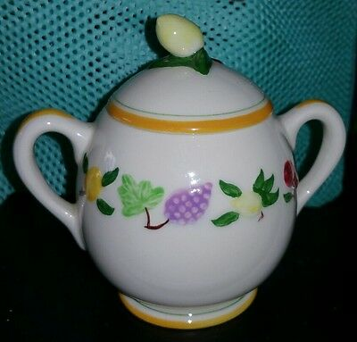 Vintage Franciscan SMALL FRUIT w/ yellow trim Covered Sugar Bowl California 1949