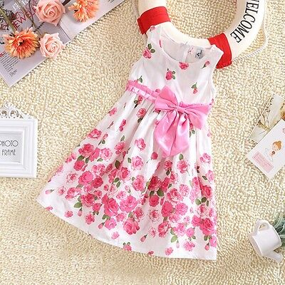 Kids Girls Floral Bowknot Sleeveless Party Dress Sweet White Sundress Clothes AU