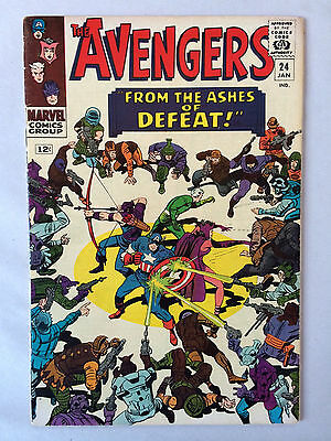 The Avengers #24 1966 Lee, Kirby, Heck, Ayers, Wood, Kang! Clean & Flat O/W