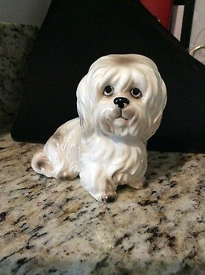 Pekingese Dog Figurine Vintage 1950's-Porcelain - Cream and Brown
