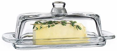 Beautiful Crystal Clear Glass Butter Dish~Cream Cheese Dish With Cover And Knob
