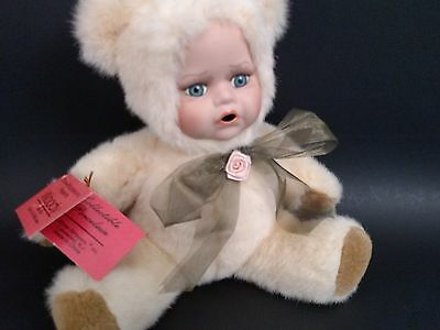 "Show-Stoppers Porcelain plush doll/bear ""woody"" Born to be Wild Series with tags"