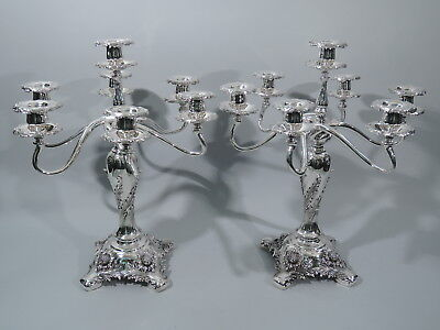 Tiffany Chrysanthemum Candelabra - 16736 - 7 Light -  Sterling Silver
