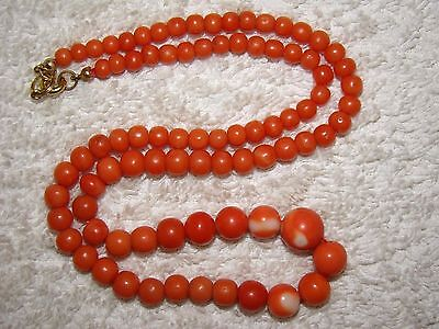 Old, Real, Antique, Natural Salmon Coral Stone Necklace / Chain