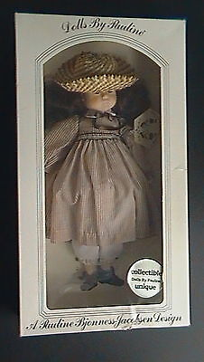 """DOLLS by PAULINE- SARAH with BROWN PARTY DRESS 18"""" DOLL - IN ORIGINAL BOX"""