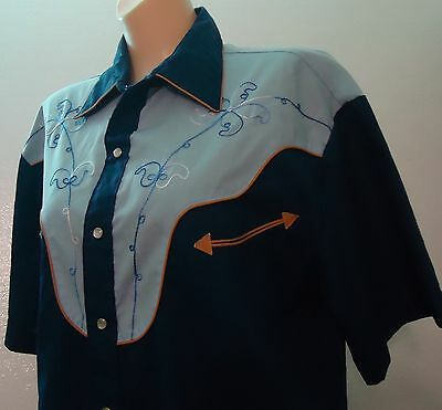 Vtg Blue & Navy Tan Pearl Snap Western Embroidered Shirt L Smiley Rockabilly