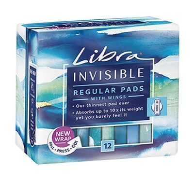 Libra Invisible Regular Pads With Wings 12 Pack