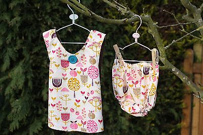 Handmade Cross Over Pinafore Dress With Matching Nappy Cover Pants 12 Months