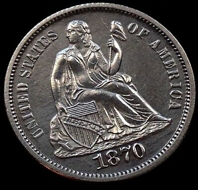 1870 Seated Liberty Dime 10c PROOF Cameo ~ RARE awesome coin #4899